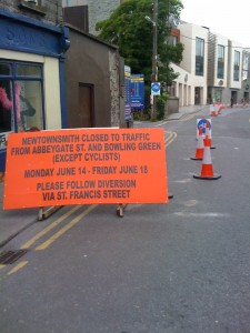 Newtownsmyth entrance to contraflow cycle track;